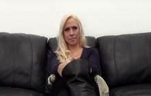 Blonde busty girl audition for porn