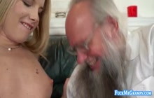 Blonde beauty Kiara Night ploughed by ugly grandpa