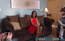 Ebony babe gives blowjob and rides