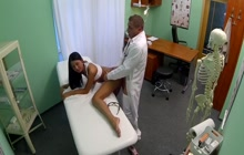 Horny doctor cums in his patient pussy