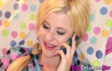 Blonde teenager gets creampied